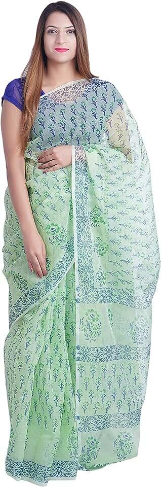 Indian dhanlaxmi Textile Women's Kota Doria Cotton Saree with Blouse Piece (DL01_Green) Saree