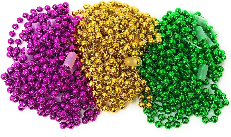 Bulk 24 Ranking TOP18 Pack 10mm Max 72% OFF Large Mardi Bead Gras Necklace Assortment