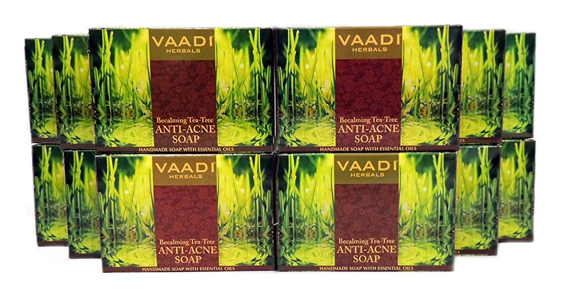 Tea Tree Soap (Tea Tree Oil Bath Bar Soap) with Clove Oil, Turmeric and Citrus Extract - Handmade Herbal Soap (Aromatherapy) with 100% Pure Essential Oils - ALL Natural - Anti Acne Therapy - Each 2.65 Ounces - Pack of 12 (32 Ounces, 2 Lb) - Vaadi Herbals