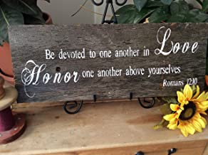 Mildred Rob Be Devoted to one Another in Love Wedding Bible Verse Sign Christian Home Scripture Verse Sign Western Barnwood Sign Rustic Home Decor