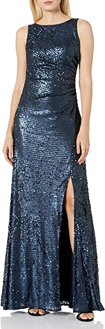 Adrianna Papell Women's Sleevless Sequin Paillette Halter Neck Gown