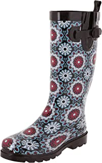 Ladies Shiny Tall Rubber Rain Boots