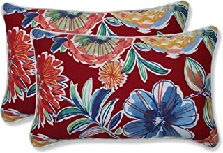 "Pillow Perfect Outdoor/Indoor Colsen Berry Lumbar Pillows, 11.5"" x 18.5"", Red, 2 Pack"