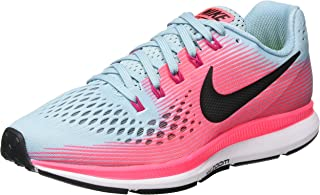 Women's Air Zoom Pegasus 34 Running Shoe Wide Mica Blue/White/Racer Pink/Sport Fuchsia Size