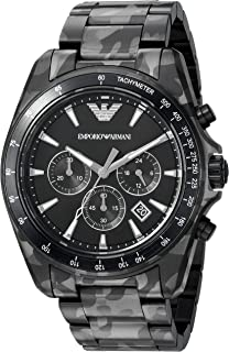 Emporio Armani Men's Sigma Analog-Quartz Watch with Stainless-Steel-Plated Strap, Black, 22 (Model: AR11027