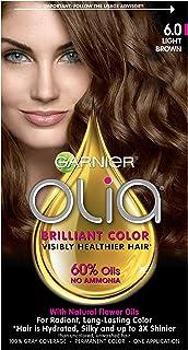 Garnier Olia Ammonia-Free Brilliant Color Oil-Rich Permanent Hair Color, 6.0 Light Brown (1 Kit) Brown Hair Dye (Packaging...