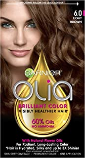 Garnier Olia Ammonia-Free Brilliant Color Oil-Rich Permanent Hair Color, 6.0 Light Brown (Pack of 1) Brown Hair Dye (Packaging May Vary)
