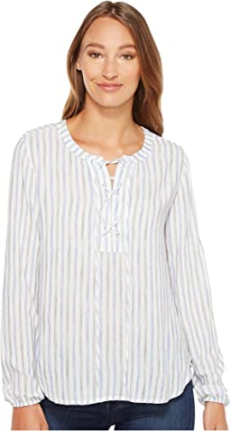 Mod-o-doc - Multicolor Rayon Stripe Mandarin Collar Stripe Lace-Up Shirt