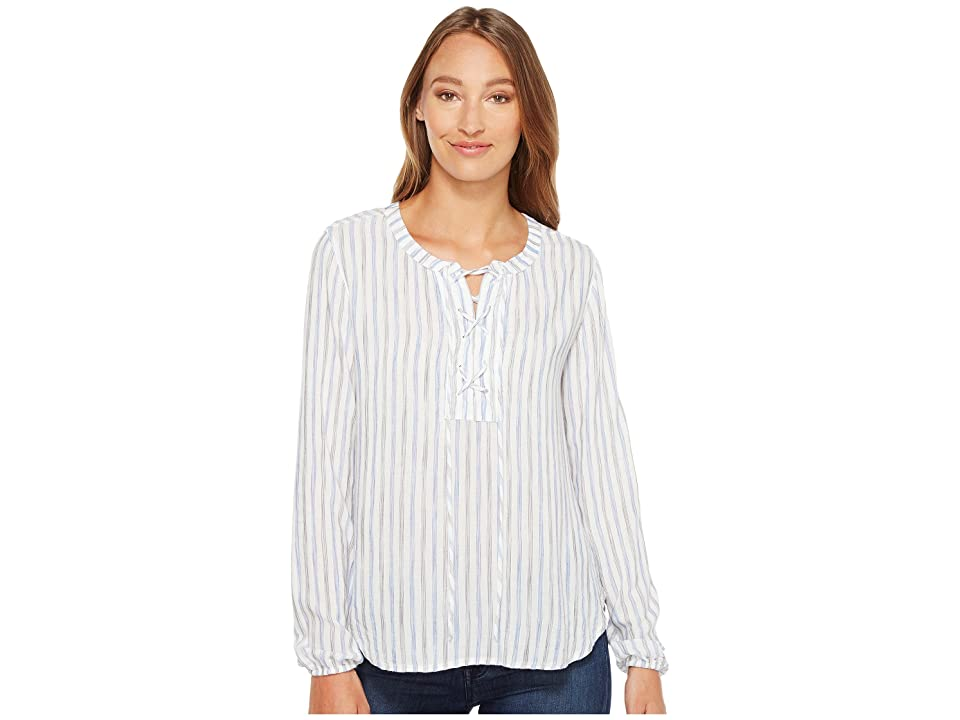 Mod-o-doc Multicolor Rayon Stripe Mandarin Collar Stripe Lace-Up Shirt (Ocean Stripe) Women