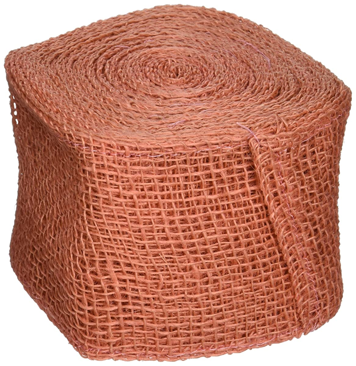 Kel-Toy Jute Burlap Ribbon Roll, 4-Inch by 10-Yard, Coral