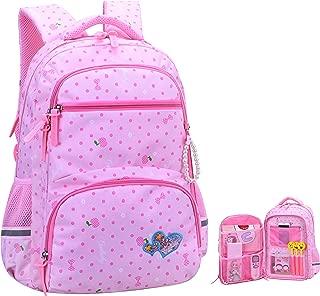Girls Backpacks for Elementary, Polk Dots School Bag for Kids Primary Bookbags (Girls Backpacks for Elementary Pink, Large for Grade 3-6)