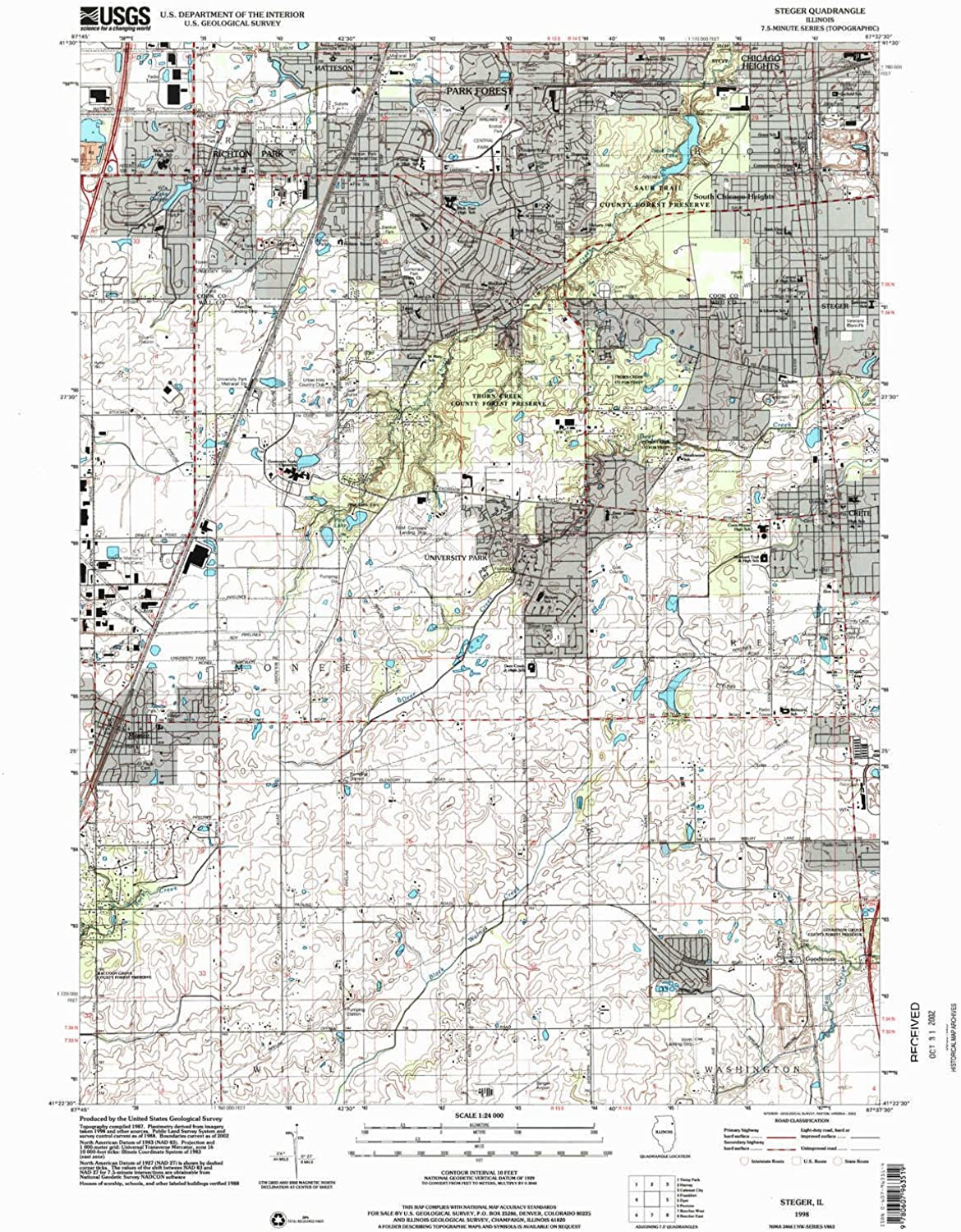 Steger IL topo map, 1 24000 Scale, 7.5 X 7.5 Minute, Historical, 1998, Updated 2002, 26.8 x 22 in