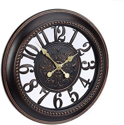 Relaxdays XL Wall Clock Vintage Style, Quiet Hanging Clock in Romantic Design. Diameter 56 cm, Brown