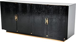 Limari Home Dayanara Collection Rich Two-Toned Crocodile Textured Buffet with Four Shelves Behind Four Doors and Rose Gold Accents, Black/Rose Gold