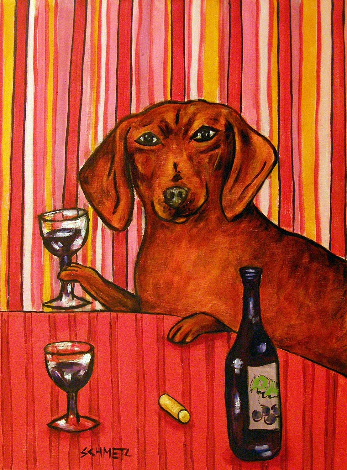 Dachshund Complete Free Shipping at the Wine Bar Nippon regular agency Print art Dog Gift