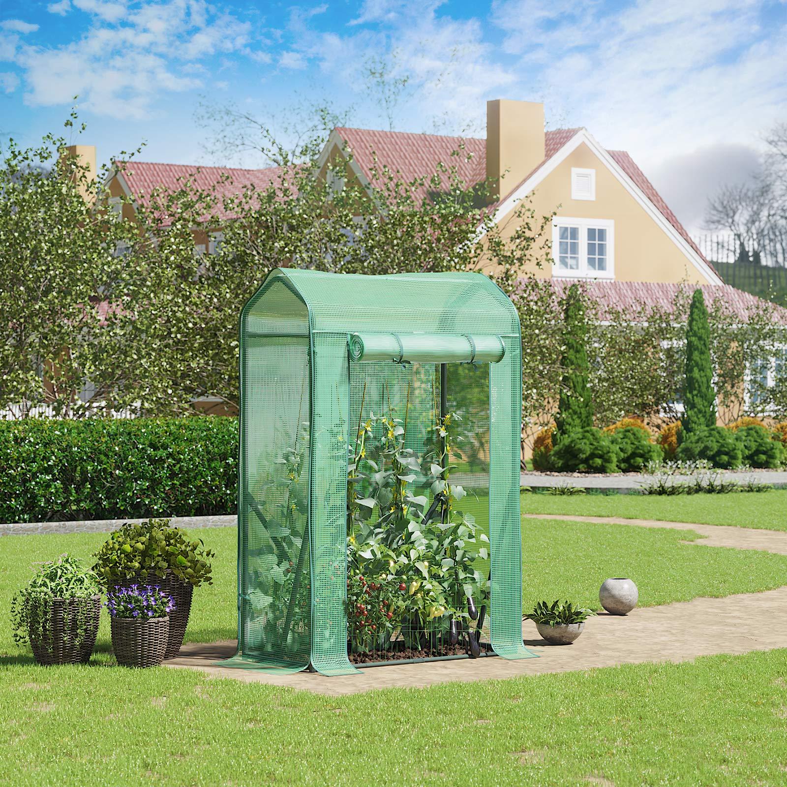 SONGMICS - Invernadero, Invernadero con Entrada Enrollable, pequeño cobertizo de jardín, semillero, caseta de Tomates, Verduras, Flores, Frutas, jardín, 100 x 50 x 150 cm, Color Verde GWP15JB: Amazon.es: Jardín