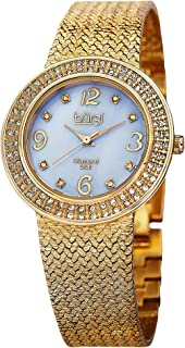 Burgi Women's Crystal Accented Swiss Watch - Mother of Pearl Dial Genuine Crystals Bezel 8 Diamond Markers On Mesh Bracelet - BUR097