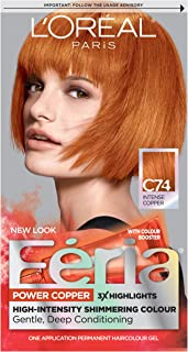 L'Oréal Paris Feria Multi-Faceted Shimmering Permanent Hair Color, C74 Copper Crave (Intense Copper), 1 kit Hair Dye