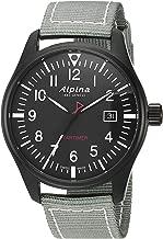 Alpina Men's Startimer Stainless Steel Swiss-Quartz Watch with Nylon Strap, Black, 20 (Model: AL-240B4FBS6)