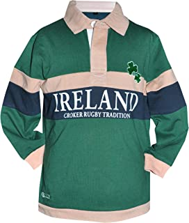 Kids Traditional Rugby Jersey - Green Long Sleeve Polo Shirt