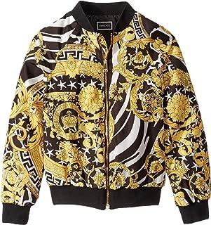 Kids Girl's Nylon Bomber Jacket with Barocco Print (Big Kids) Black/Gold 14 (Big Kids)