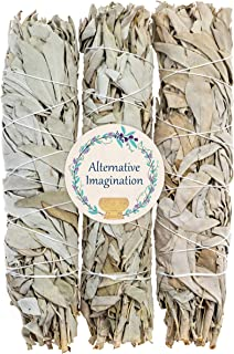 3 Premium California White Sage, Each Stick Approximately 8 Inches Long and 1.25 Inches Wide for Smudging Rituals, Energy Clearing, Protection, Incense, Meditation, Made in USA