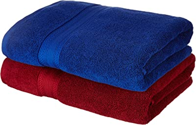Amazon Brand Solimo 100 Cotton 2 Piece Bath Towel Set 500 Gsm Iris Blue And Spanish Red Amazon In Home Kitchen