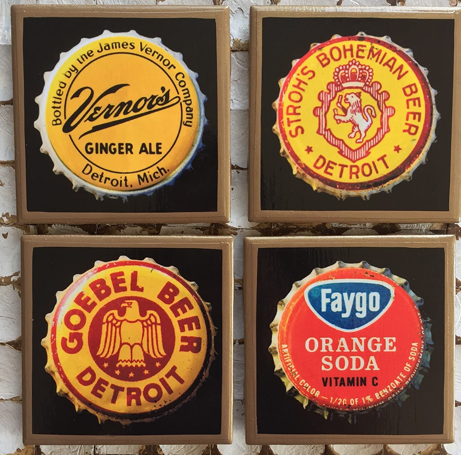 Detroit Our shop OFFers the best service bottle cap brands set of gold with Vernor coasters trim. Over item handling ☆