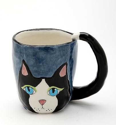 """Cosmos 20753 3-7/8"""" High Black Cat Ceramic Mug, Multicolor"""