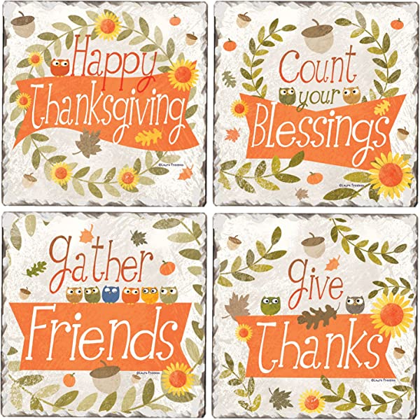 CounterArt Set Of 4 Assorted Tumbled Tile Coasters Thanksgiving Greetings Owls