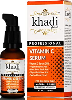 Khadi Global Vitamin C Serum with Vitamin E, Vegan Hyaluronic Acid, Ferulic Acid and Vegan Glutathione Acid Serum (30 ml)