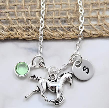 Horse Necklace - Horseback Riding Rodeo Jewelry - Horse Lover Gift - Little Girls Gift - Personalized Birthstone, Initial, Chain Length - Fast Shipping