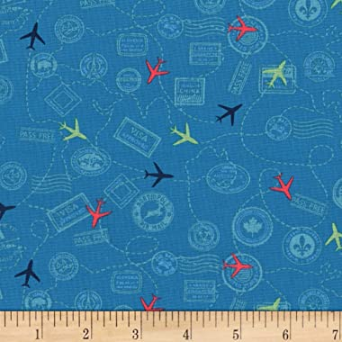 Michael Miller Travel Daze Mapped Out Teal Fabric by the Yard
