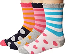 Stripes/Dots/Hearts/Stars Crew Socks 3-Pair Pack (Toddler/Little Kid/Big Kid)