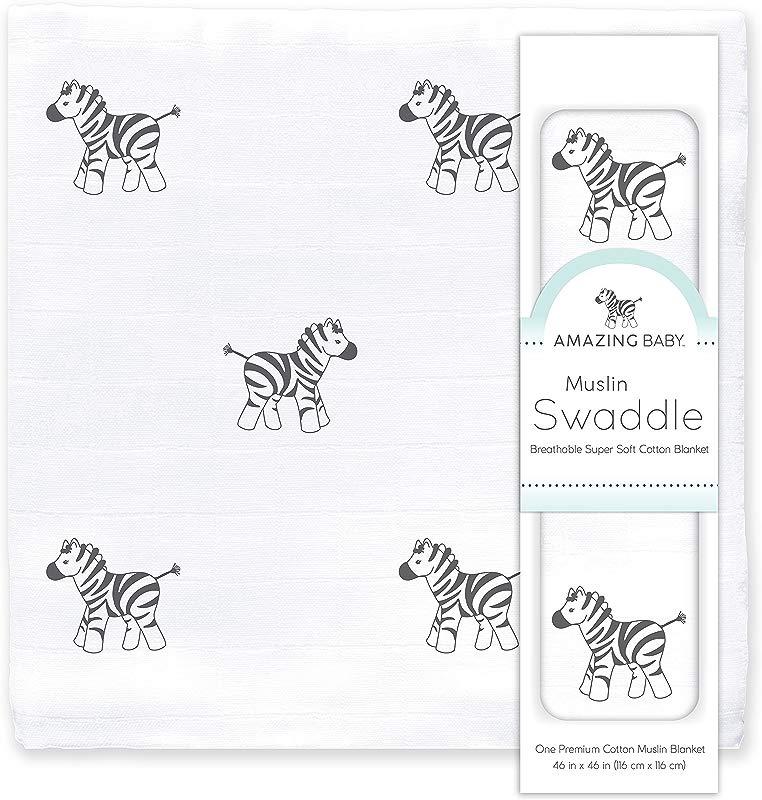 Amazing Baby Muslin Swaddle Blanket Premium Cotton Zebra Black