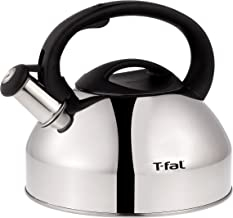 T-fal C76220 Specialty Stainless Steel Dishwasher Safe Whistling Coffee and Tea Kettle, 3-Quart, Silver