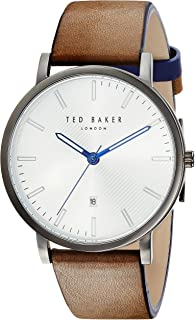Ted Baker Men's Dean Stainless Steel Quartz Watch with Leather Calfskin Strap, Black, 20 (Model: TE50012003)