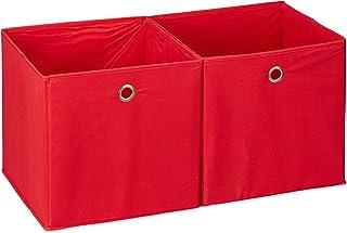 Relaxdays 10025655_47 Lot de 2 boîtes de rangement, carrées en tissu, Cubique, 30x30x30 cm, Rouge, polyester, carton, 30 x...