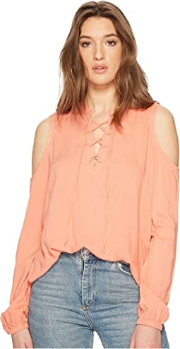 Rossi Slub Gauze Tie Front Cold Shoulder Top
