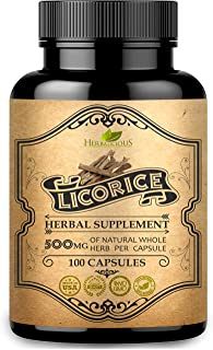 HERBALICIOUS Licorice Root Capsules - Pure Organic Glycyrrhiza Glabra Extract Supplement for Digestion, Respiratory Health...