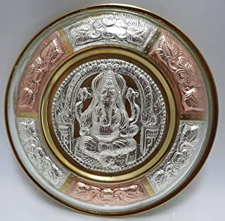 JLine Arts Ganesha 6 Inches Thanjavur Art Plate Metal Art with Wall Hanging