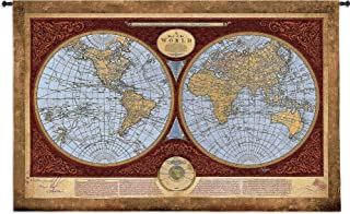 Map of The World | Woven Tapestry Wall Art Hanging | Traditional World Map Cartography Library Decor | 100% Cotton USA Size 76x53