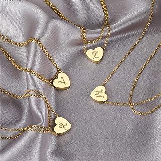 Letter N Ankle Bracelet for Women Men, Heart Initial Bracelet 18K Gold Plated, Stainless Steel Couples Personalized Pendan...