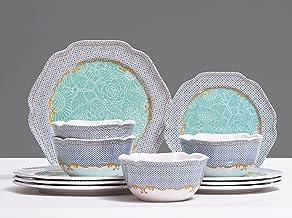 طقم أواني طعام ميلامين لـ 4، 12 قطعة من أطباق المائدة ، أخضر أزرق، غير قابل للكسر ، آمنة للاستخدام في غسالة الأطباق ، خالي...