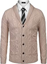 COOFANDY Men's Shawl Collar Cardigan Sweater Slim Fit Merish Aran Button Down Cable Knitted Sweater with Pockets