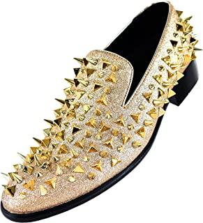 Bolano Men s Glitter Faux Suede Spiked and Studded Smoking Slipper 44422ee18