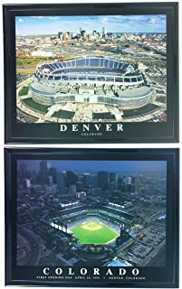 Denver Broncos Sports Authority Field at Mile High & Rockies Coors Field Framed Aerial Photos