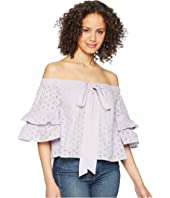 ROMEO & JULIET COUTURE Off the Shoulder Tiered Sleeve Top