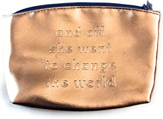 """March 2019 Ipsy Glam Bag Rose Gold Metallic """"and off she went to change the world"""" Bag Only NO Contents"""