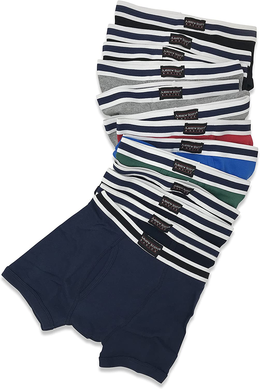 Andrew Scott Basics Boys Big Boys /& Toddlers Cotton Knit Underwear Boxer Briefs-Pack of 12